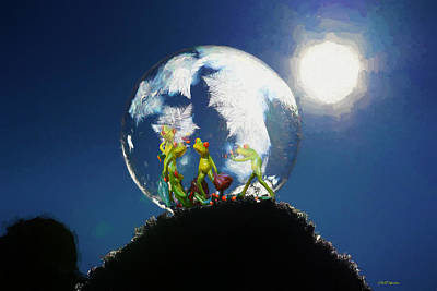 Digital Art - Frogs In A Bubble by Ericamaxine Price