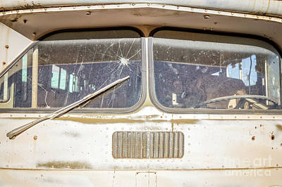 Photograph - Front Of An Old Bus In A Junkyard by Edward Fielding