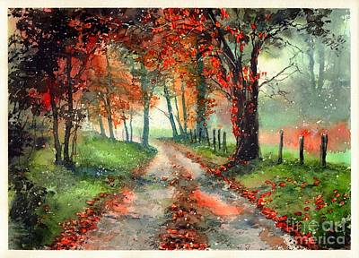 Indian Wall Art - Painting - Frosty Autumn Patch by Suzann's Art