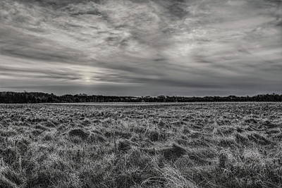 Photograph - Frosty Hay Field Black And White by Dale Kauzlaric
