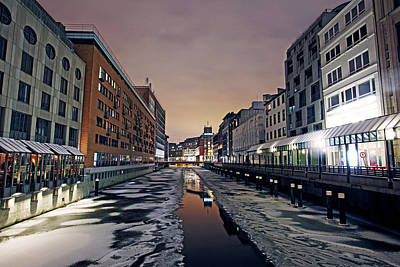 Photograph - Frozen Canal In Inner Hamburg At Night by Allan Baxter