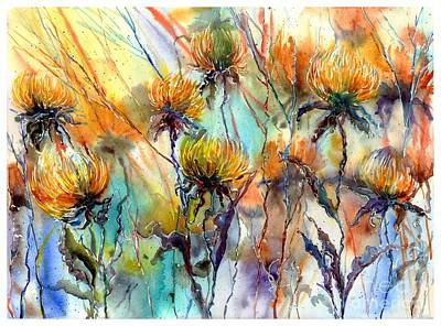 Tulips Watercolor Wall Art - Painting - Frozen Chrysanthemums by Suzann's Art