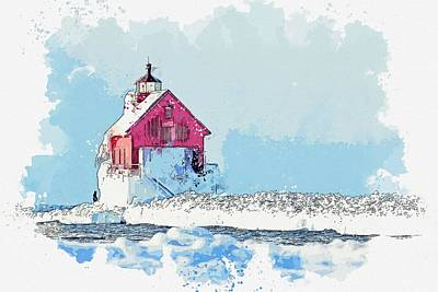 Landmarks Painting Royalty Free Images - Frozen Lighthouse -  watercolor by Adam Asar Royalty-Free Image by Adam Asar