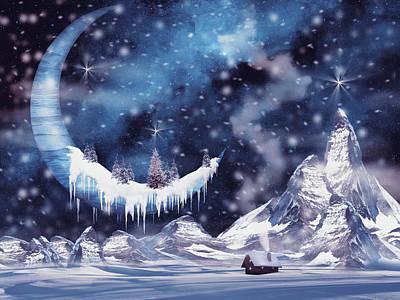 Surrealism Digital Art - Frozen moon by Mihaela Pater
