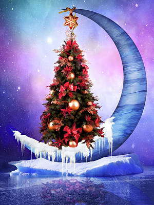 Surrealism Royalty-Free and Rights-Managed Images - Frozen moon with Christmas tree by Mihaela Pater