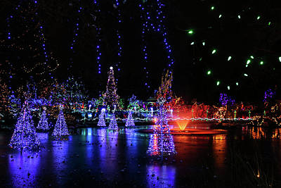 Photograph - Frozen Pond Lights by Perggals - Stacey Turner