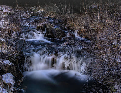 Frozen River In Forest - Long Exposure With Nd Filter Art Print