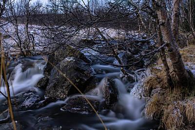 Frozen Stream In Winter Forest Art Print