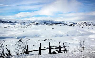 Photograph - Frozen Ustevatnet Lake Hallingskarvet National Park Ustaoset Bus by Adam Rainoff