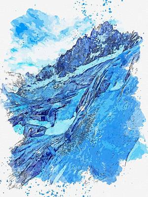 Landmarks Painting Royalty Free Images - Frozen Waterfall, Mer de Glace, Chamonix, France -  watercolor by Adam Asar Royalty-Free Image by Celestial Images