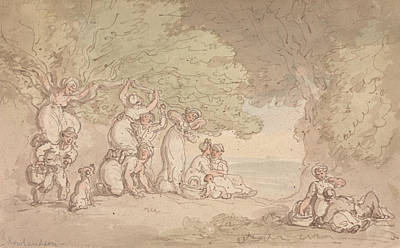 Drawing - Fruit And Nut Picking by Thomas Rowlandson