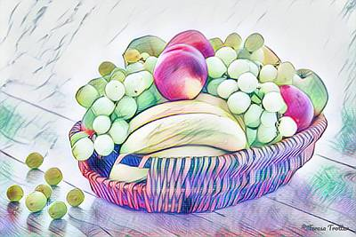 Modern Feathers Art - Fruit Bowl. by Teresa Trotter