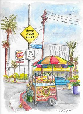 Painting - Fruit Cart In Sunset Blvd. And Kenmore Ave., In Hollywood, California by Carlos G Groppa
