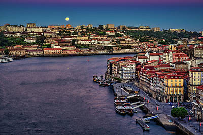 Photograph - Full Moon At Dawn #2 - Porto - Portugal by Stuart Litoff