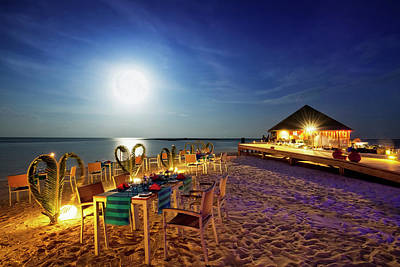 Photograph - Full Moon Dinner - Vilamendhoo Island by Cinoby