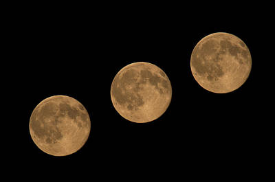 Photograph - Full Moon Moving Above Night Sky by Olaf Broders