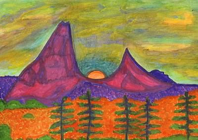 Painting - Full Moon Rising In The Mountains by Dobrotsvet Art