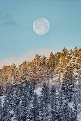 Wall Art - Photograph - Full Moon Setting Over Yellowstone by Martin Belan