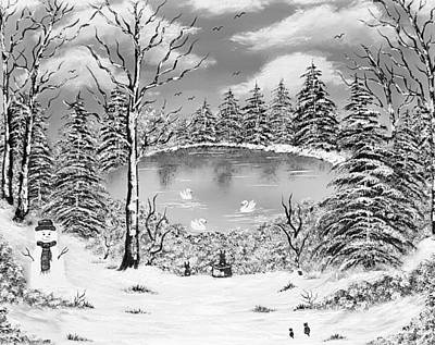 American West - Full of nature winter fun grayscale  by Angela Whitehouse