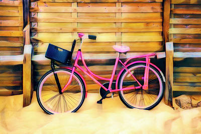 Photograph - Fun Pink Bike At The Beach Art by Debra and Dave Vanderlaan