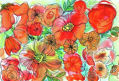 Painting - Funky Flowers Orange by Chris Hobel