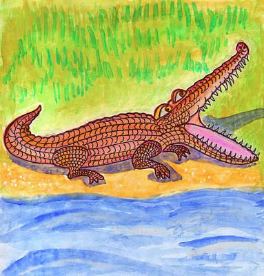 Painting - Funny Alligator  by Dobrotsvet Art