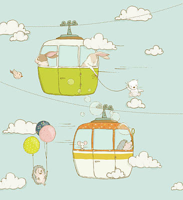 Painting - Funny Animals In Cable Cars Whimsical Art For Kids by Matthias Hauser