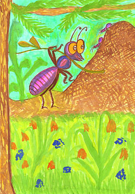 Painting - Funny Ant by Dobrotsvet Art