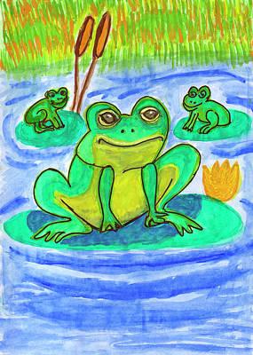 Painting - Funny Frogs by Dobrotsvet Art