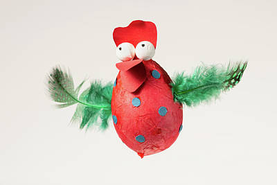 Polaroid Camera - Funny handmade red chicken used for decorating an Easter egg tree by Stefan Rotter