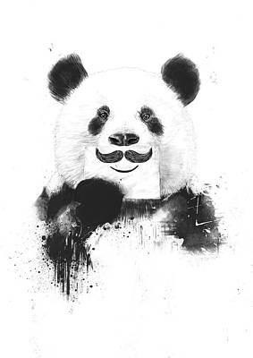 Drawing Mixed Media - Funny Panda by Balazs Solti