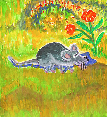 Painting - Funny Rat by Dobrotsvet Art