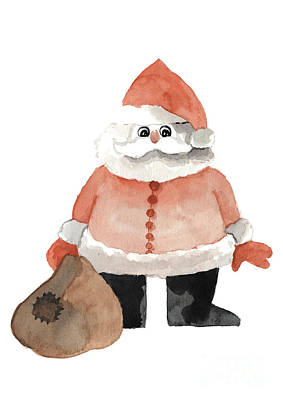 Painting - Funny Santa With A Patched Sack by Joanna Szmerdt
