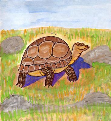 Painting - Funny Turtle by Dobrotsvet Art