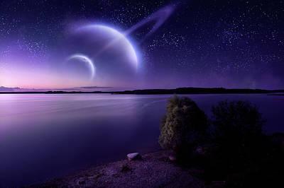 Photograph - Futuristic Evening Seascape by Da-kuk