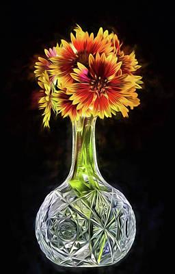 Digital Art - Gaillardia And Crystal by JC Findley