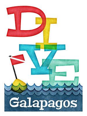 Scuba Diving Wall Art - Digital Art - Galapagos Dive - Colorful Scuba by Flo Karp