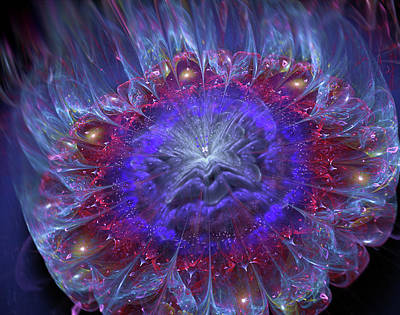 Digital Art - Galaxy Flower Icy Fire by Lilia D