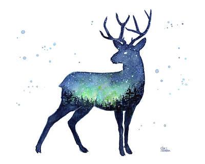 Reindeer Painting - Galaxy Reindeer Silhouette by Olga Shvartsur