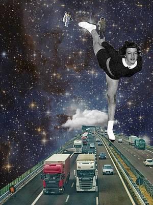 Surrealism Digital Art - Pop Surreal Galaxy skates by Keshava Shukla
