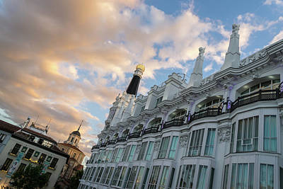 Photograph - Gallivanting Around Madrid Is A Pure Delight - Plaza De Santa Ana Colorful Dusk by Georgia Mizuleva