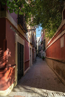 Photograph - Gallivanting Around Seville Is Pure Charm - Calle Pimienta Red Facades by Georgia Mizuleva