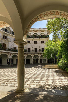 Photograph - Gallivanting Around Seville Is Pure Charm - Alluring Checkerboard Courtyard by Georgia Mizuleva