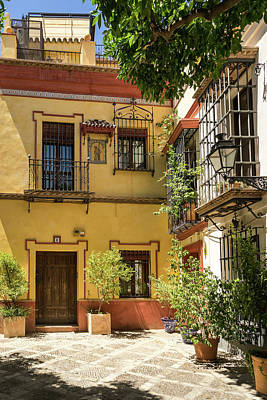 Photograph - Gallivanting Around Seville Is Pure Charm - Andalusian Houses In White And Cyber Yellow by Georgia Mizuleva