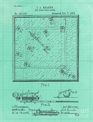 Royalty-Free and Rights-Managed Images - Game Board Vintage Patent Year 1892 Vintage Art Print by Drawspots Illustrations