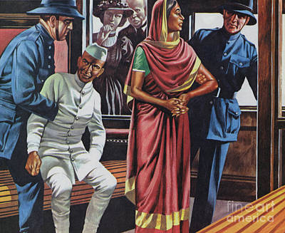 Painting - Gandhi Being Arrested For Traveling In A First Class Railway Carriage by Ron Embleton