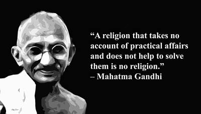 Mixed Media - Gandhi Ji On Religion, Artist Singh, Quotes by World Of Quotes -Artist Singh