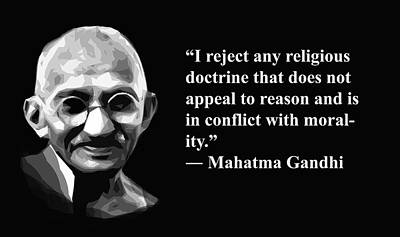 Mixed Media - Gandhi On Religion, Artist Singh, Quote by World Of Quotes -Artist Singh