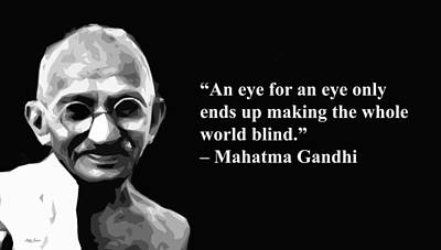 Mixed Media - Gandhi  On Revenge, Artist Singh, Quotes by World Of Quotes -Artist Singh