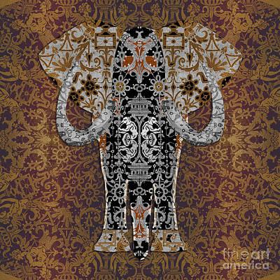 Digital Art - Ganesha In Bobbin Lace Background Pattern by Diego Taborda